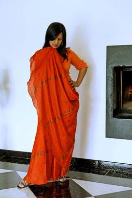 jupe longue portée en sari
