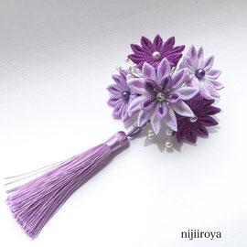 つまみ細工 紫の髪飾り1