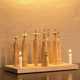LLichtgestalten, modern Krippe, Blattgold, Kerzen, Krippenfiguren, Erzgebirge, Volkskunst, handwerk, Lichterbogen, Schwibbogen