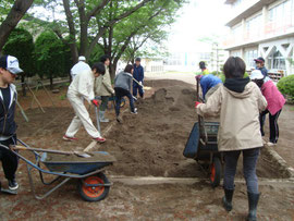 砂場の整備
