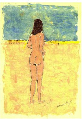 Femme face au désert