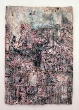 "Thomas Virnich ""Renaissance Plakat"", 2010-2012, Mischtechnik auf Leinen, Holz, Seide, farbig gefasst, 120x80cm"
