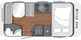 Grundriss LMC Caravan Style 410 D