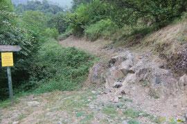 N°42/ le bas du chemin de Busteigt très bien fauché ; le seuil rocheux mériterait un plan incliné pour sécuriser le passage.