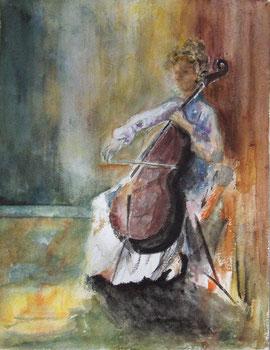 """""""La violoncelliste"""", aquarelle peinte en 2010 par Anny Bergerolle d'après John Lidzey, offerte à Pierre Le Clercq le 29 juin 2011 à Passirac, le jour de la Saint-Pierre."""