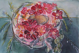 Cosmea im Kranz  -Aquarell auf Bütten-
