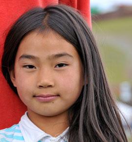 Visage jeune fille mongole