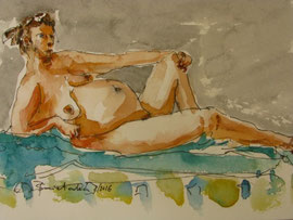 Voluptuous Nude, Ink/Watercolor Sketch