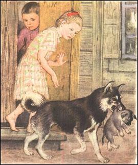 Дети взяли щенка и дали Розке, а Розка снесла щенка во рту на место.