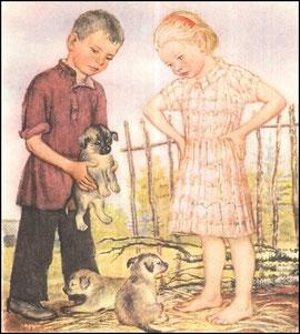 Дети пришли и взяли щенка и снесли на печку.