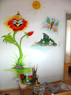 Projekt kinderzimmer gl cksb rchis - Kinderzimmer wandbemalung ...