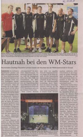 Bericht zur Team-WM 2011 in Paderborn - Holsteinischer Courier am 01.09.2011