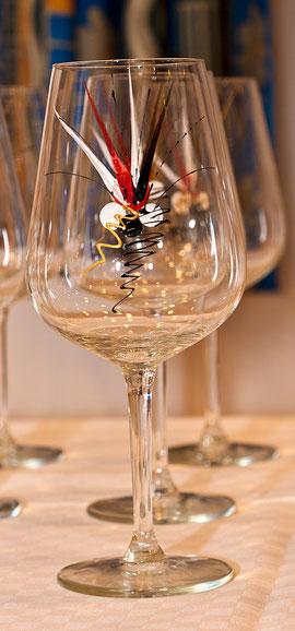Weissweinglas, handbemalt, Stück a 9,-