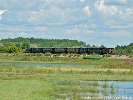 Train à vapeur au départ du retour de la traversée de la Baie de Somme