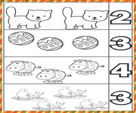 Ejercicios para imprimir y asociar número y cantidad.