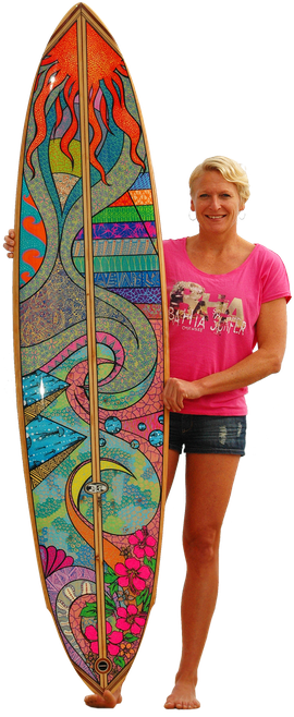 a lot of work, hand painting the wooden north shore surfboard, shaped by my dad Jürgen
