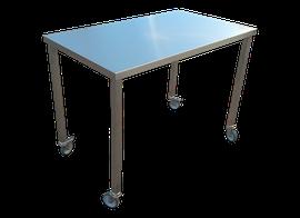 mesa de trabajo central en acero inoxidable con entrepaño