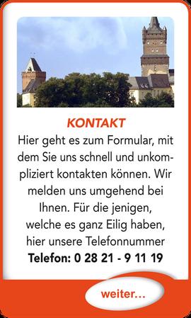 """Button verlinkt zu """"Kontakt"""" der Uttendorf Bedachungen GmbH."""