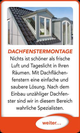 """Button verlinkt zu """"Dachfenstermontage"""" der Uttendorf Bedachungen GmbH."""