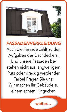 "Button verlinkt zu ""Fassadenverkleidung"" der Uttendorf Bedachungen GmbH."