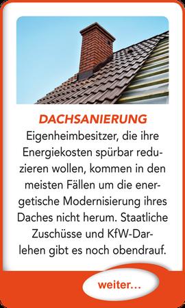 """Button verlinkt zu """"Dachsanierung"""" der Uttendorf Bedachungen GmbH."""