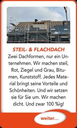 """Button verlinkt zu """"Eindeckung von Steil- und Flachdach"""" der Uttendorf Bedachungen GmbH."""