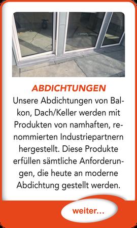 """Button verlinkt zu """"Balkon- und Terrassenabdichtung"""" der Uttendorf Bedachungen GmbH."""