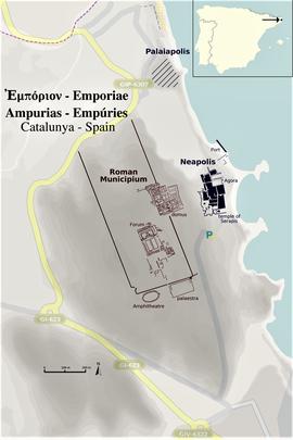 Das heutige Empúries - Lageplan (es.wikipedia.org)