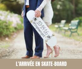 A chaque semaine, son moyen de transport original pour les mariés ! Skate-board