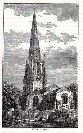Aston Church before Chatwin's 1890 restoration. Image from R K Dent Old & New Birmingham 1880, downloaded from sally_parishmouse on flickr. For a direct link to Sally Lloyd's Parishmouse website see Acknowledgements.
