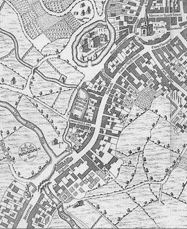 Westley's 1731 map of Birmingham is oriented with North towards the right. Digbeth lies on the town side of the River Rea (top of the map), Deritend below the Rea at the bottom of the map.