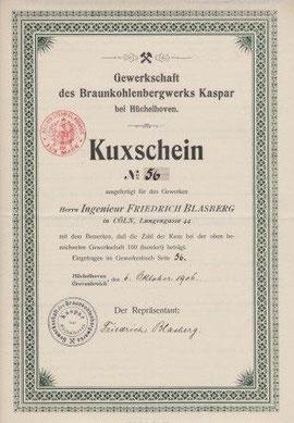 Kux-Schein der Gewerkschaft des Braunkohlenbergwerks Kaspar aus Hüchelhoven (Bergheim im Rhein-Erft-Kreis)