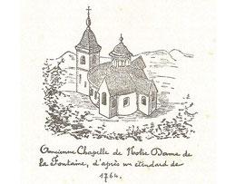 Chapelle Notre-Dame de la Fontaine en 1632 - Image provenant du livre de Van Haudenard