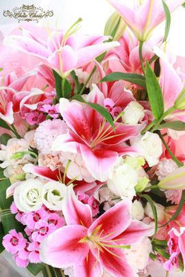 和風のお花のプロポーズ花束&「美女と野獣」魔法のバラドームアレンジ ラメ&ピック付き