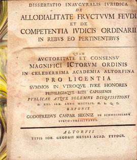 Dissertationsarbeit des Gottfried Caspar Segnitz