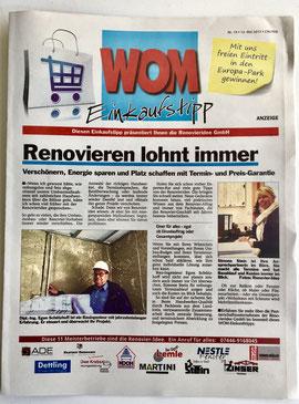 Redaktionelle Titelseite WOM-Einkaufstipp Mai 2017