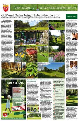 Konzeption und Text für ganzseitige PR-Anzeige für den Golf-Club Freudenstadt 2013