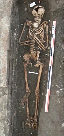 Squelette inhumé avec sa coquille de pélerin - Hopital de Toulouse