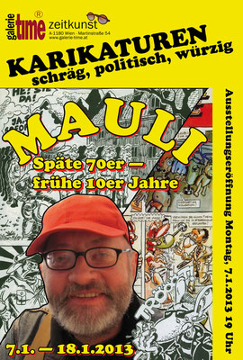 Galierie Time Austellung Karikaturen von Mauli - Manfred Maulber - ehemaliger Karikaturist der Arena Stadtzeitung