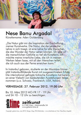 galerie time Ausstellung und Vernissage Nese Banu Argadal - Arden Goldberg - Malerei mit türkischen Wurzeln