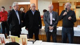 Inauguration en présence de Michel PEREZ, Président du CRL Midi-Pyrénées (Centre Régional des Lettres), Bertrand AUBAN Sénateur de la Hte Gne, Jacques LECLERC, Conseiller Général, Joseph MONTAUD Maire de Ciadoux (Comminges)