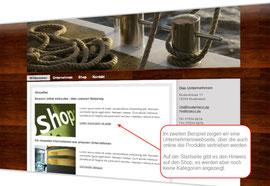Screenshot: Webseite mit Online-Shop
