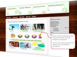 Screenshot Online-Shop auf Startseite
