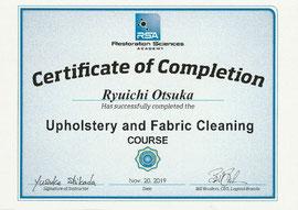 米国RSAのUpholstery and Fabric Cleaning(家具・布製品クリーニング)研修修了