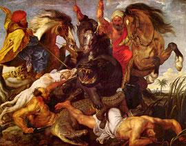 """Peter Paul Rubens: """"Nilpferdjagd"""" (1615-1616)"""