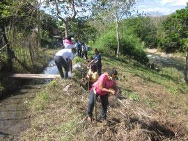 川沿いを植林する子どもたち