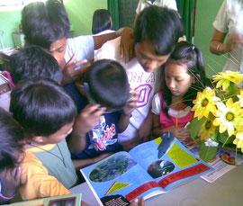 寄附された本で環境問題について学ぶ子どもたち