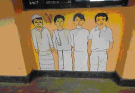 「みんな兄弟」というテーマの学校の壁画