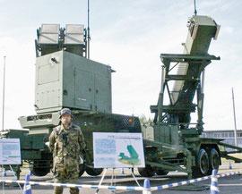 航空自衛隊芦屋基地に九州で初めて配備されたPAC3の発射機=(資料写真・共同)