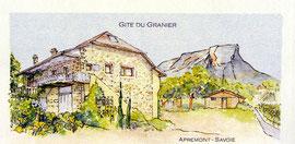 A proximité de Challes-les-Eaux. Au pied du Massif de La Chartreuse, des vignes et d'un panorama exceptionnel sur la Chaîne de Belledonnes